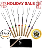 Marshmallow Roasting Sticks Extending Roaster 32 Inch Set of 8 Telescoping STAINLESS STEEL. Smores Skewers & Hot Dog Forks.Campfire & Camping Cooking Kids – FREE Bag. by anytime family.GET IT NOW