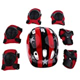 MonkeyJack 7 Pieces Kids Boy Girl Shock-proof Sport Helmet Knee Elbow Wrist Pad Protector for Roller Skating Riding Scooter Bike Skateboard