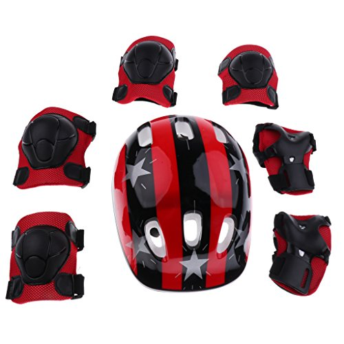 - MagiDeal 7 Pieces Kids Roller Skating Scooter Bike Safety Helmet Knee Elbow Pad Wrist Guard - Red Star, M