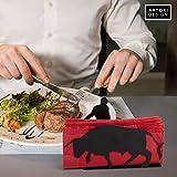 Artori Design Red Napkin Holder | Black Metal Bull