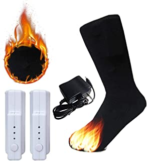 Liub troisième vitesse réchauffe les chaussettes de décalage électriques de coton, chauffe-pieds thermiques chauffants contrôlables de température d'hiver rechargeable de pied pour les hommes et les