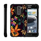 TurtleArmor | Compatible for LG K7 Case | LG Tribute 5 Case | LG Treasure Case [Dynamic Shell] Hybrid Dual Layer Hard Shell Cover Kickstand Silicone Case - Flower 4