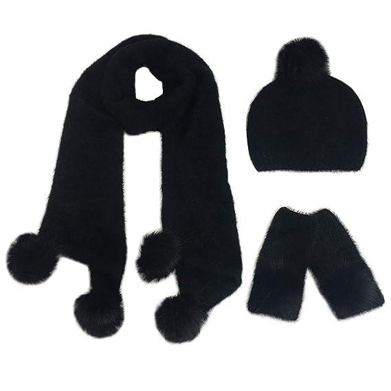 6a1c4af9d640 FEOYA Ensemble 3 Pcs Bonnet Echarpe Gants avec Pompon Tricoté Hiver Chaud  Doux pour Femme - Noir  Amazon.fr  Vêtements et accessoires