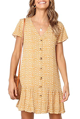 (Mystry Zone Women's Dress V Neck Polka Dot One Piece Spring Tshirt Dress for Leggings Yellow XL)