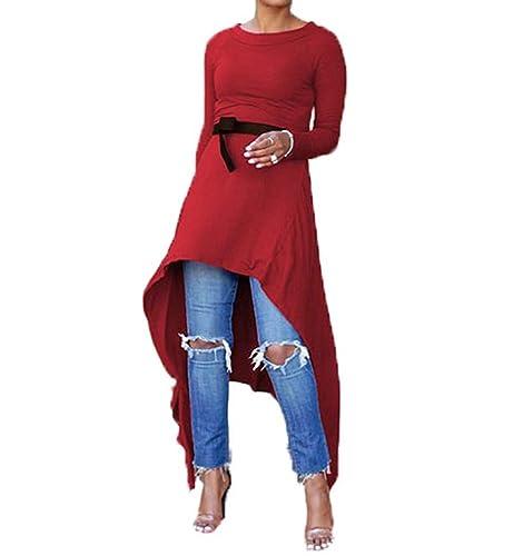 NiSeng Mujeres Elegante Robe Blusa Tops Moda Cuello Redondo Manga Larga Irregular Dobladillo Vestido...