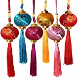 Lucore Colorful Chinese Lucky Lantern Ornaments - 6 pcs Multi-Color Silk Brocade Hanging Charms