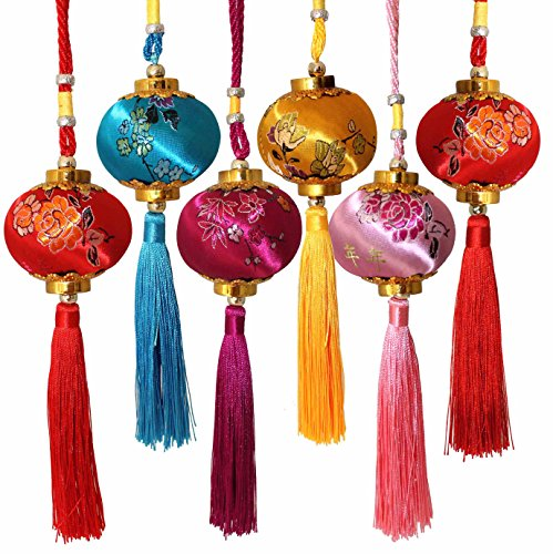 Lucore Colorful Chinese Lucky Lantern Ornaments - 6 pcs Multi-Color Silk Brocade Hanging Charms (Christmas Japan Decorations)