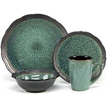 Cuisinart CDST1-S4JEG Stoneware Jenna Green Collection 16-Piece Dinnerware Sets