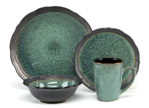 Cuisinart CDST1-S4JEG Stoneware Jenna Green Collection 16-Pi