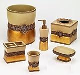 Avanti Linens Braided Medallion 6 Piece Resin Wastebasket Set, Gold