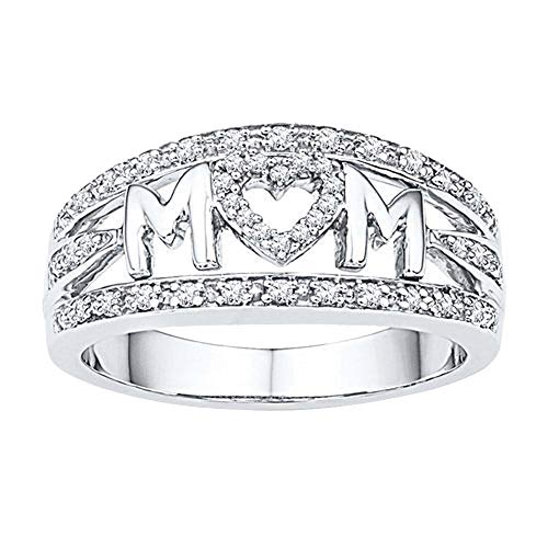 Onyx Dragonfly Pin - UNICLEE Love Mum Diamond Ring Jewelry Best Gift for Mother Party Wedding Band Rings for Birthday Mother's Day Gift (Silver, 6)