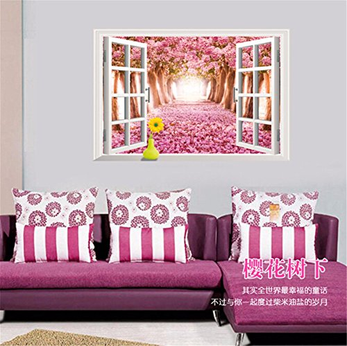 LAONA To remove the 3D wall stickers (cherry blossom tree) window background landscape wall bedroom decoration sticker (6090cm)