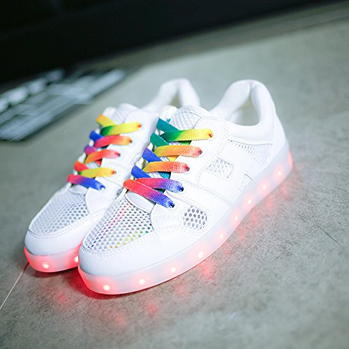 [Presente:pequeña toalla]JUNGLEST® Unisex 7 Colors USB Carga LED Luz Luminosas Flashing Sneakers Altotop Zapatos Zapatillas de Depo c4