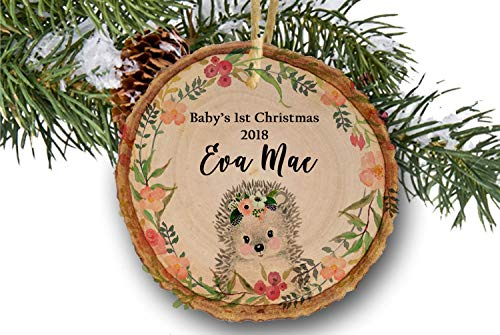 Baby Girl's First Christmas Ornament 2018, Hedgehog Ornaments, Woodland  Baby Shower Gifts Newborn Present - Amazon.com: Baby Girl's First Christmas Ornament 2018, Hedgehog