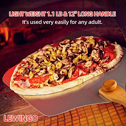 LEWINGO Aluminum Metal Pizza Peel 12 inch x 14 inch, Safe Pizza Paddle with Foldable Wooden Handle for Indoor and Outdoor Pizza Oven, Easy Storage Pizza Spatula Paddle for Homemade Baking Bread, Dough