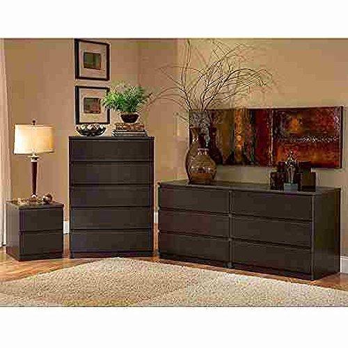 Laguna Double Dresser, 5-drawer Chest and Nightstand Set, Es