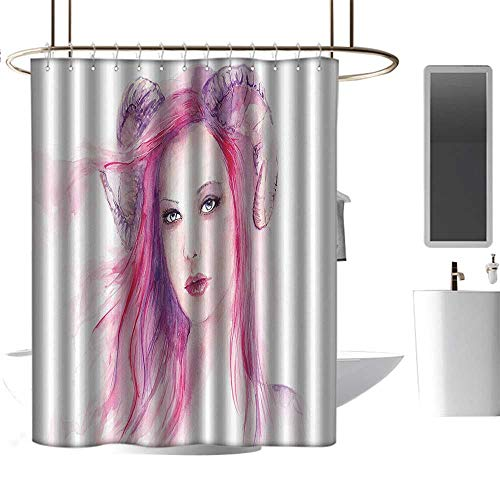 (Customized Shower Curtains 3D Print Gothic Decor,Sexy Grotesque Girl with Hair and Horns Made Color Effects Devil Paint Print,Pink Purple Decoration Cozy Lovely Decor Pleasing W63 xH72 inch)
