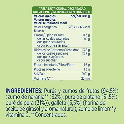 Hero Bolsita Mi Fruta Puré de Frutas Naranja, Plátano y Galleta para Bebés a partir de 12 meses 100 g: Amazon.es: Alimentación y bebidas