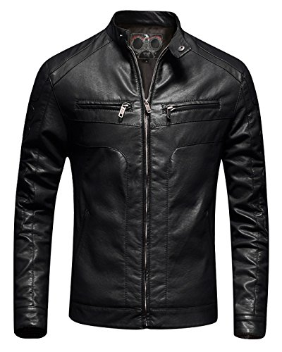 Mens Faux Leather - Fairylinks Mens Casual Slim Fit Moto Bomber Biker Racer Jacket Faux Leather Black, Large