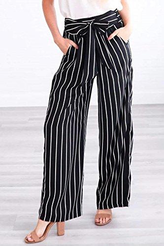 Pantaloni Moda Larghi 1 7 Base Pantaloni Casuale Stripe Estivi Pantaloni Casual Donna Black 8 Battercake Pantalone Pantaloni Elegante Donne Baggy Larghi Di Stoffa q0HXXB