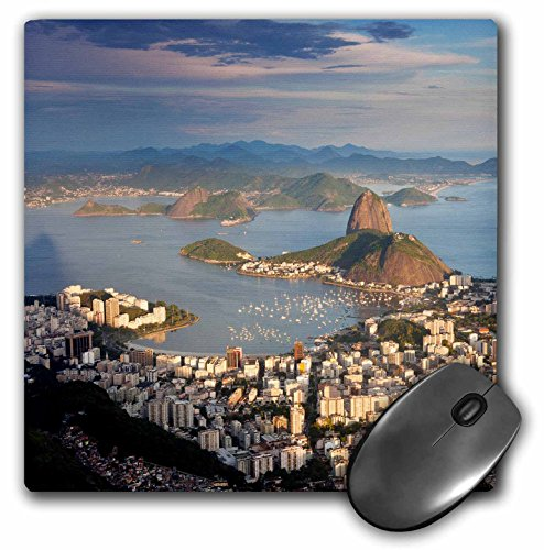 """3D Rose""""View Over Sugarloaf Mountain in Guanabara Bay Rio De Janeiro"""" Matte Finish Mouse Pad - 8 x 8"""" - mp_228639_1"""