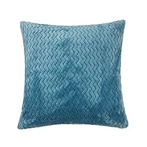 "2 X Filled Zig ZAG Chevron Duck Egg Blue Super Soft Fleece 17"" - 43CM Cushions Pillow CASE Shams"