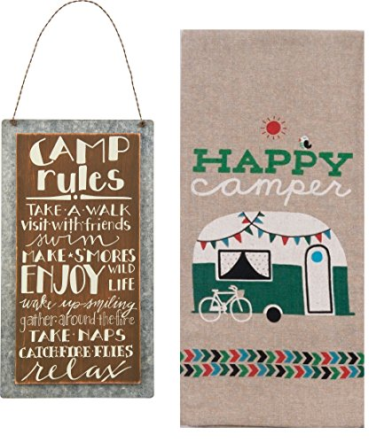 Camping Home Decor Set | Camp Rules Sign and Happy Camper Chambray Towel Bundle (2 pieces total) by I Love Camping