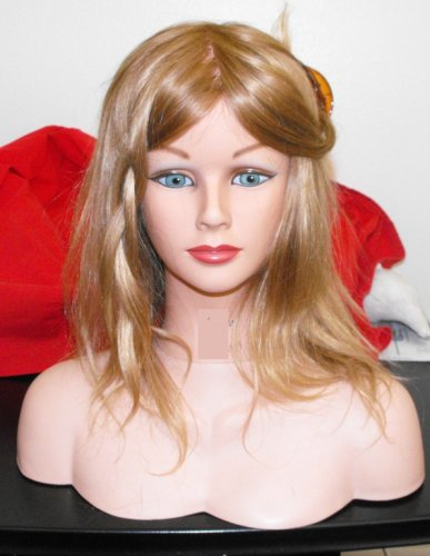 Cosmetology Mannequin Beautiful Femail Real Hair + Shoulder 2 Parts 12-14'' Long Virgin Hair by mannequin
