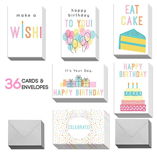 Happy Birthday Cards with Envelopes - Birthday Greeting Cards for Men, Women, Boys & Girls (Men Cards For Birthday Greeting)