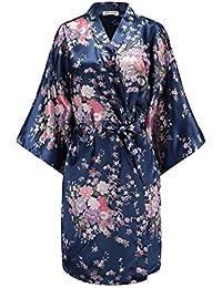 Women Floral Satin Robe Bridal Dressing Gown Wedding Bride Bridesmaid Kimono Sleepwear