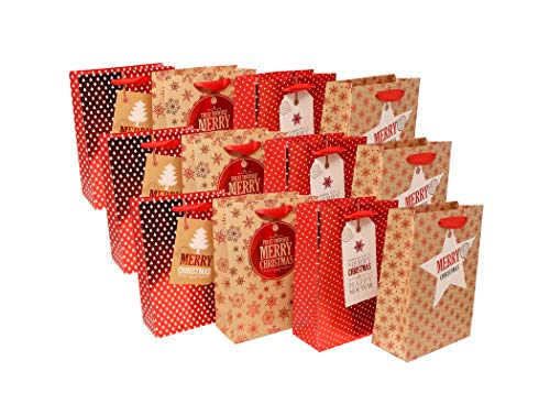 Medium Size Holiday Gift Bags - 12 Pack - Permium Paper Bulk Variety Set with Printed Gift Tags - Includes 4 Cute Red and Gold Designs - for Wrapping Christmas Presents and Stocking Stuffers