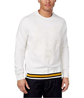 Sean John Mens Stripe Sweater with Faux-Leather Stars HS171153