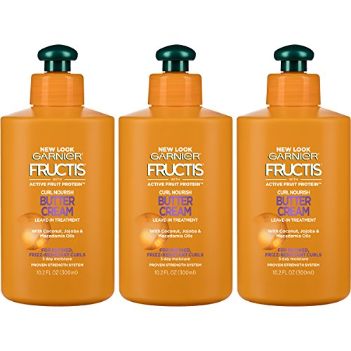 Garnier Hair Care Fructis Curl Nourish Butter Cream Leave-In Conditioner for Curly Hair, 3 Count by Garnier