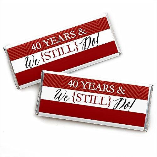 40th Anniversary Party Favors - We Still Do - 40th Wedding Anniversary Party - Candy Bar Wrappers Party Favors - Set of 24