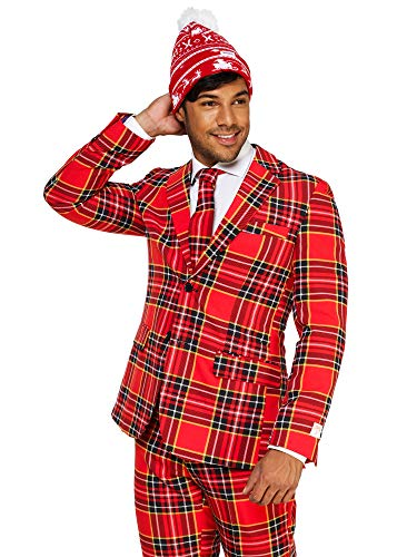 OppoSuits Christmas Suits for Men in Different Prints – Ugly Xmas Sweater Costumes Include Jacket Pants & Tie + Free ()