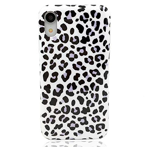 - HUIYCUU Case Compatible with iPhone XR Case, Slim Fit Black Purple Leopard Print Design Soft TPU Floral Pattern Shockproof Thin Protective Girl Women Bumper Back Cover for iPhone Xr 9, White