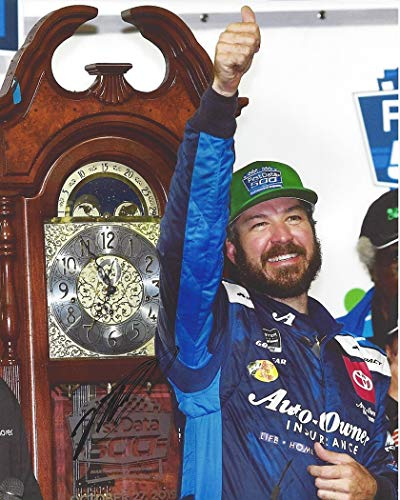 AUTOGRAPHED 2019 Martin Truex Jr. #19 Auto Owners Teasm MARTINSVILLE RACE WIN (Grandfather Clock) Joe Gibbs Racing Monster Cup Series Signed Collectible Picture 8X10 Inch NASCAR Glossy Photo with COA from Trackside Autographs