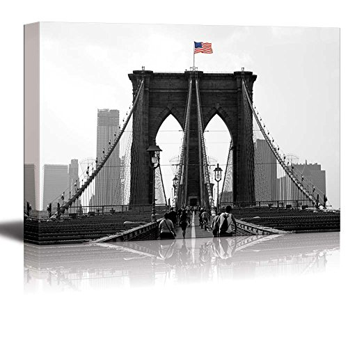 Pop of Color the USA Flag Over the Brooklyn Bridge in New York Red Color Stands out against Black and White Background