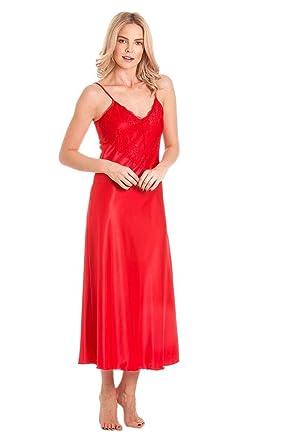 LO Ladies Long Satin Nightdress Nightie Deep Lace Plus Size Nightwear  Sleepwear  Amazon.co.uk  Clothing 8740a89dded82