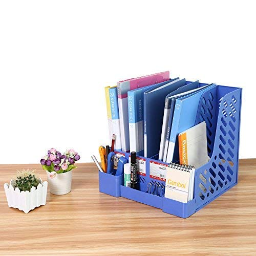 File Rack CRUODA Desktop Documents 4 Compartment for Documents Notebooks Blue Office Desk Shelf Magazines