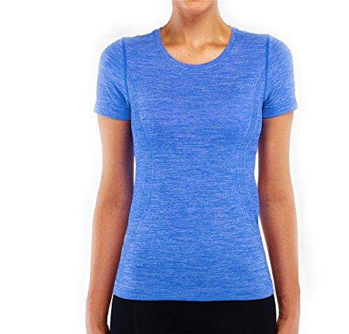 (Fay Fay Women's Athletic Workout Lightweight Yoga Sport Tee top Shirt Blue M )
