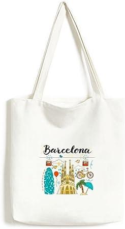 Barcelona España sagrada familia bolsa de lona medio bolsa de regalo grande capacidad para bolsas de la compra: Amazon.es: Hogar