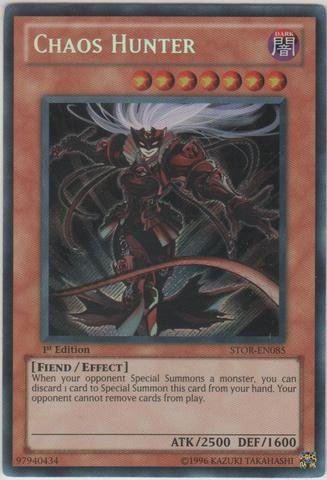 Yu-Gi-Oh! - Chaos Hunter (STOR-EN085) - Storm of Ragnarok - Unlimited Edition - Secret Rare - Chaos Secret Rare Card