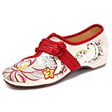 Socofy Women's Manual Flower Embroidered Canvas Shoes,Chinese Knot Vintage Flat Casual Loafer Shoes Beige 8 B(M) US