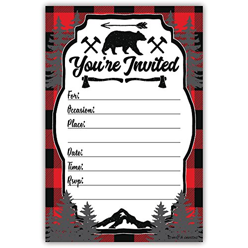 Lumberjack Rustic Birthday Party or Baby Shower Invitations (20 Count) With Envelopes ()