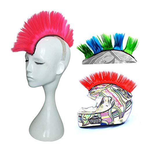 3T-SISTER Helmet Mohawk Wig Motorcycle Adhesive Mohawk Hair Patches Skinhead Costumes -
