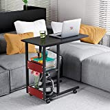 Cheap SHUHOME Mobile Snack Table 31.5″ Sofa Side Table for Coffee or Laptop with Metal Frame and Casters Modern (Black Brown)
