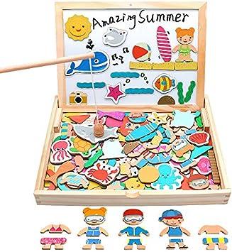 yoptote 120 Piezas Puzzles de Madera Magnético,Pizarra Magnética Rompecabezas Madera Tablero de Dibujo de Doble Cara Juguete Educativo Pesca para Niños 3 4 5 Años: Amazon.es: Juguetes y juegos