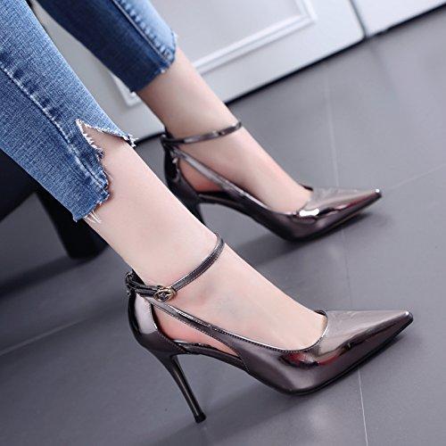 Mot Printemps Pour Heels Canon Boucle Creux Le Chaussures Unie L'automne Avec Couleur Fine Et Un Femmes Shoeshaoge High Bouche q0FT6xwt