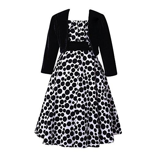Richie House Girls' Long Style Polka Dot Dress with Cape RH1508-B-5/6